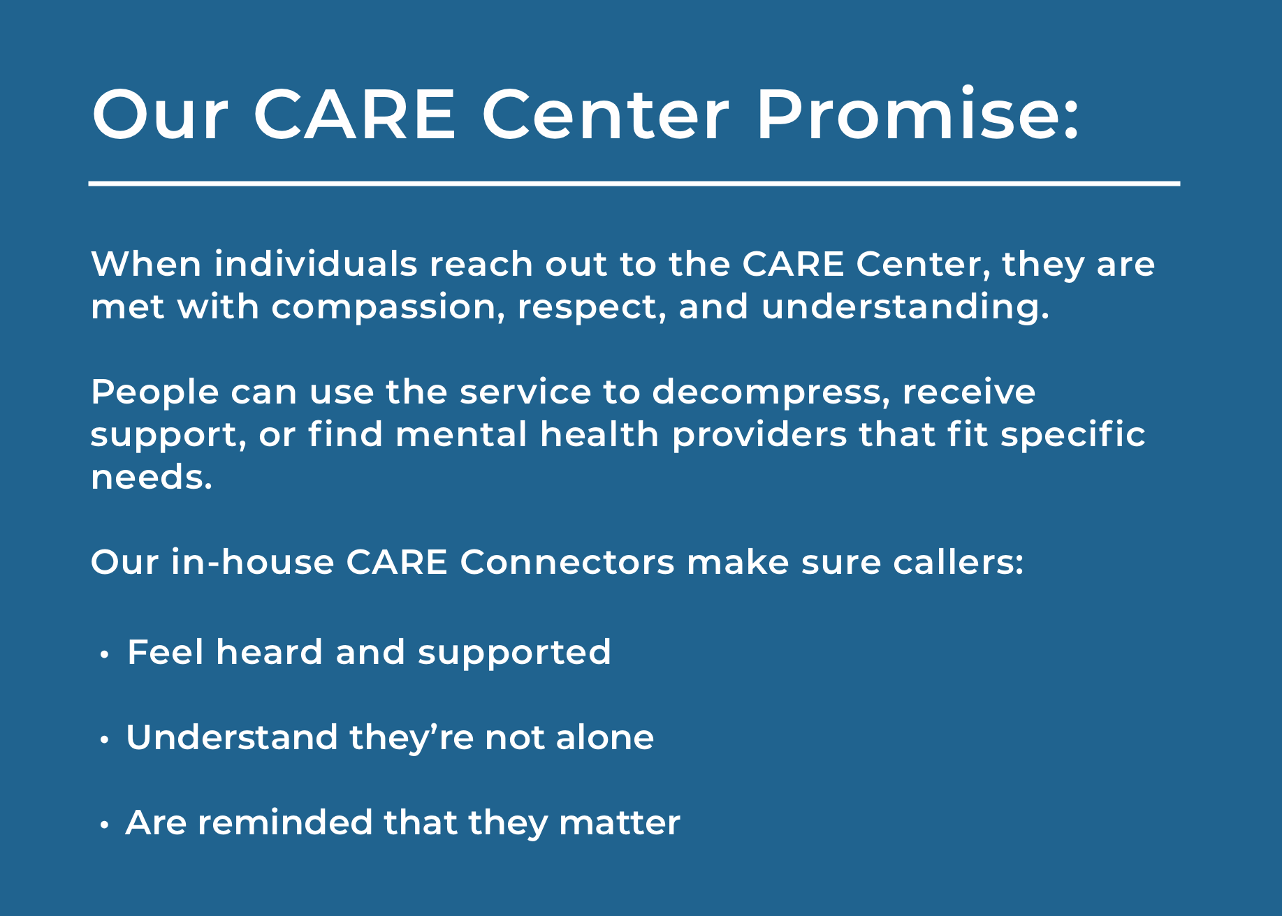 CARE Center Promise
