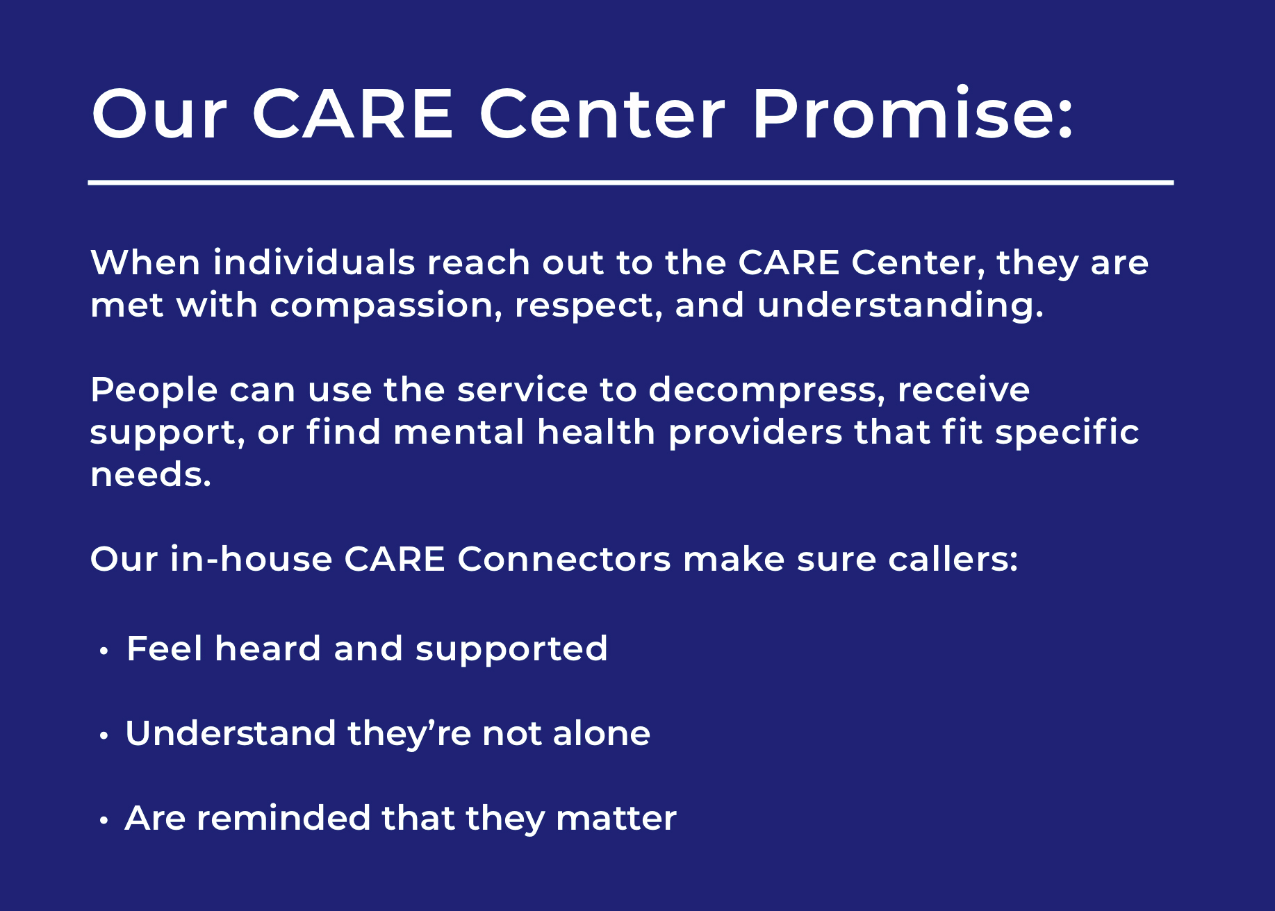 CARE Center Promise 2